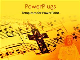 PowerPlugs: PowerPoint template with a paper showing musical notes with a cross and a statue of Jesus Christ