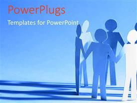 PowerPlugs: PowerPoint template with paper team standing together with blue color