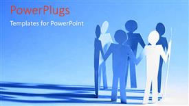 PowerPoint template displaying paper team standing together with blue color