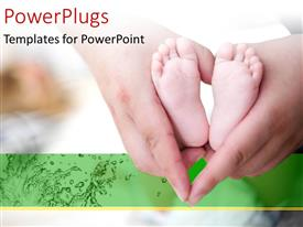 PowerPoint template displaying parent holding baby's foot as love heart shape with green color
