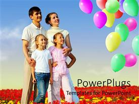 PowerPoint template displaying parent with two kids smile as they stare at colorful balloons