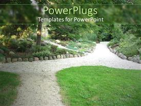 PowerPlugs: PowerPoint template with park garden pathway with grass, gravel, shrubs, trees