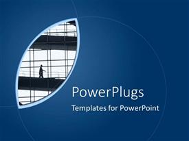 PowerPoint template displaying part view of a building on a blue background