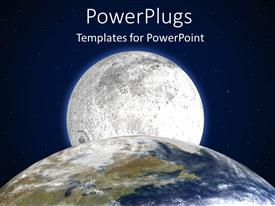 PowerPlugs: PowerPoint template with partial depiction of Planet Earth with Moon in the back and starry sky background