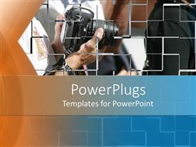 PowerPoint template displaying partial view of people and one holding a black camera