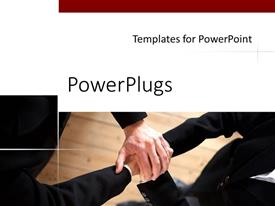 PowerPoint template displaying partnership metaphor with two business people holding hands, negotiations