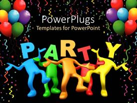 PowerPlugs: PowerPoint template with party celebration balloons birthday  dancing black background