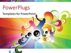 PowerPlugs: PowerPoint template with party depiction with people dancing over colorful background and speakers