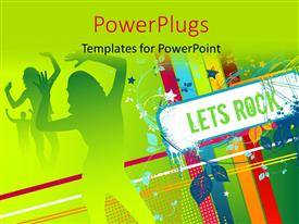 PowerPlugs: PowerPoint template with party depiction with silhouette of dancers and signpost reading LETS ROCK