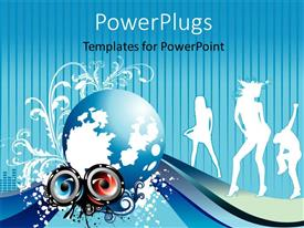 PowerPlugs: PowerPoint template with party depiction with silhouette of dancing people and speakers