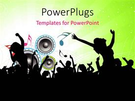 PowerPlugs: PowerPoint template with party depiction with silhouette of people, music symbols and speakers