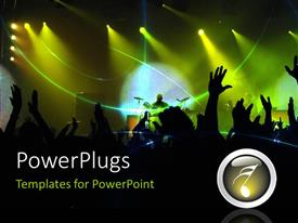PowerPoint template displaying party in night club with flashing lights and people dancing