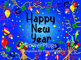 PowerPlugs: PowerPoint template with party scene with a Happy New Year text on a blue background