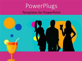 PowerPlugs: PowerPoint template with party theme , having drinks and music , with colorful bubbles