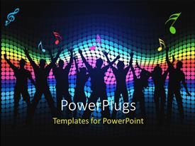 PowerPoint template displaying party theme, having silhouettes of people dancing , with colorful lights