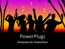 PowerPlugs: PowerPoint template with party theme , silhouette dancing with trees and multi colors