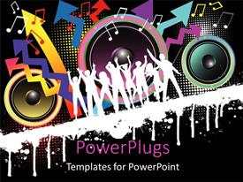PowerPlugs: PowerPoint template with party theme , with silhouettes dancing with speakers