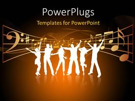 PowerPlugs: PowerPoint template with party theme , silhouettes of people dancing with the musical signs