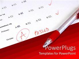 PowerPlugs: PowerPoint template with passed test with A grade white paper and red background