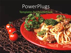 PowerPlugs: PowerPoint template with pasta with sausages and broccoli in red plate with table mat