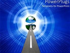 PowerPlugs: PowerPoint template with path to globe split in two with cityscape in middle on radiating blue background
