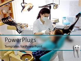 PowerPlugs: PowerPoint template with patient and female dentist in dental office, equipment, chair, oral hygiene