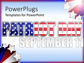 PowerPoint template displaying patriot day text with American flag pattern for September 11 remembrance