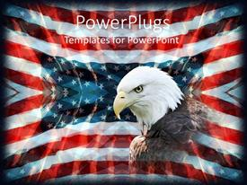 PowerPoint template displaying patriotic background with American flag, bald eagle