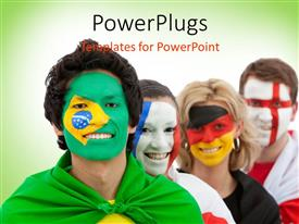 PowerPoint template displaying patriotism , group of people having faces painted with country flags , green color