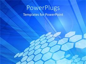 PowerPlugs: PowerPoint template with a pattern of lots of honey comb shapes on a blue background