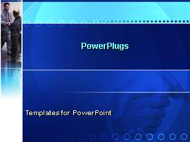 PowerPlugs: PowerPoint template with a patterned blue background with a picture of two men at the side