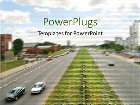 PowerPoint template displaying patterned depiction of urban traffic with cars on two road sides and buildings