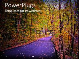 PowerPlugs: PowerPoint template with paved path through woods in autumn