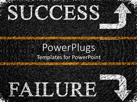 PowerPoint template displaying pavement with arrows pointing to success and failure