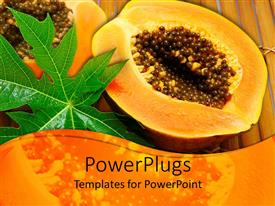PowerPlugs: PowerPoint template with a paw paw cut in half showing its seeds and a leaf