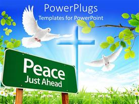PowerPlugs: PowerPoint template with a peace sign with a dove