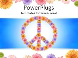 PowerPlugs: PowerPoint template with a peace sign with a number of flowers in the background