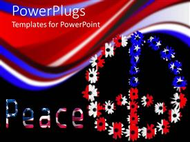 PowerPoint template displaying peace word with American flag letters and peace symbol colored in United States flag colors