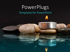 PowerPlugs: PowerPoint template with peaceful setting with Rocks and Candle on Water with black color