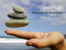 PowerPoint template displaying pebbles floating at fingertips with seashore