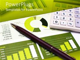 PowerPlugs: PowerPoint template with a pen on a financial report along with a calculator