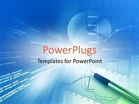 PowerPlugs: PowerPoint template with pen on financial report with charts on futuristic screen