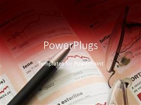 PowerPlugs: PowerPoint template with pen and glasses laying on page of charts