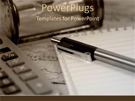 PowerPlugs: PowerPoint template with a pen with a notebook and a calculator
