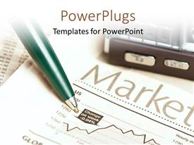 PowerPlugs: PowerPoint template with a pen on a paper with a text that spelled out 'Market'
