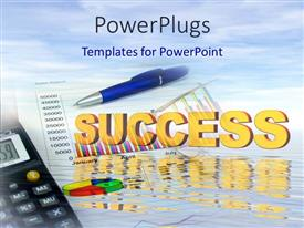 PowerPlugs: PowerPoint template with a pen with a pie chart and clouds in the background