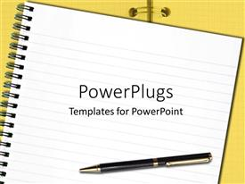 PowerPlugs: PowerPoint template with a pen and a register with yellow background and a place for text