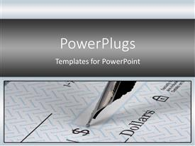 PowerPlugs: PowerPoint template with pen top writing amount on blank check, bills, finance, debt