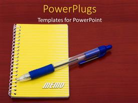 PowerPoint template displaying pen and yellow notepad placed on red colored desk