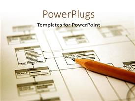 PowerPlugs: PowerPoint template with pencil with a printout of a database schema with white color